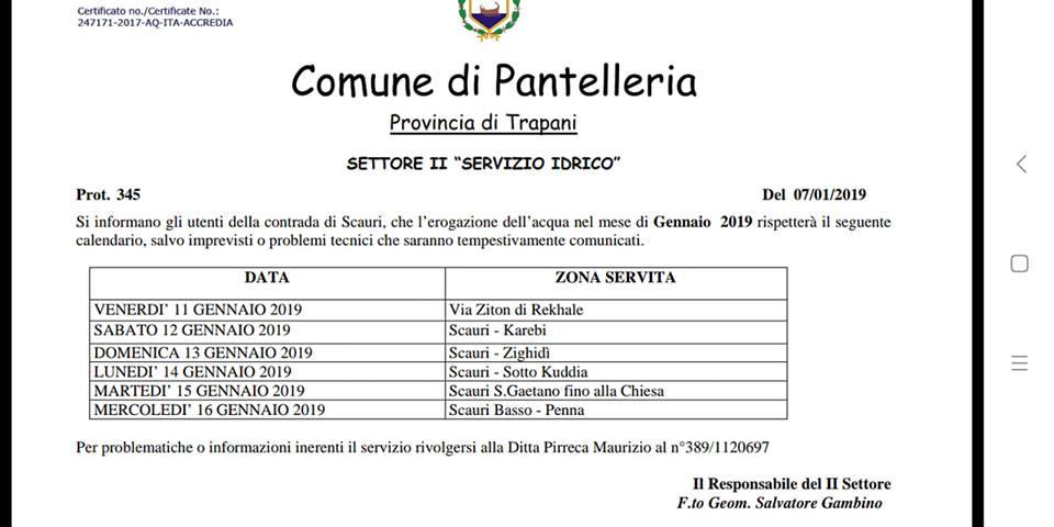 Calendario Gennaio.Pantelleria Servizio Idrico Calendario Gennaio 2019 Per La